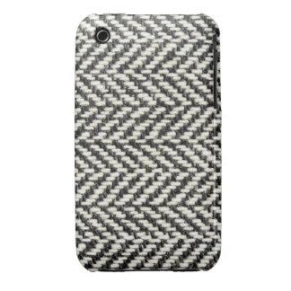 Herringbone Tweed Rustic Black White Knit Print iPhone 3 Cases