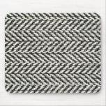 Herringbone Tweed Rustic Black & White Knit Print Mousepads