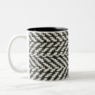 Herringbone Tweed Rustic Black & White Knit Print Two-Tone Coffee Mug