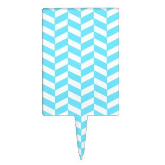 Herringbone White Bright Blue Summer Mod Pattern Cake Topper