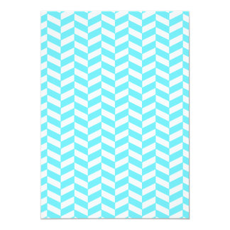 Herringbone White Bright Blue Summer Mod Pattern Card