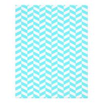 Herringbone White Bright Blue Summer Mod Pattern Flyer