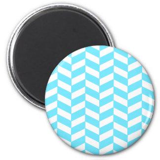 Herringbone White Bright Blue Summer Mod Pattern Magnet