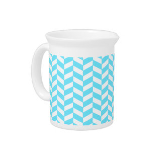 Herringbone White Bright Blue Summer Mod Pattern Pitcher
