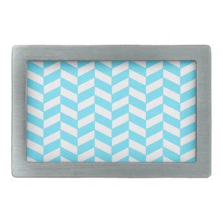 Herringbone White Bright Blue Summer Mod Pattern Rectangular Belt Buckle