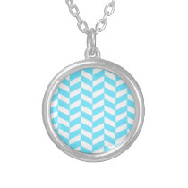Herringbone White Bright Blue Summer Mod Pattern Silver Plated Necklace