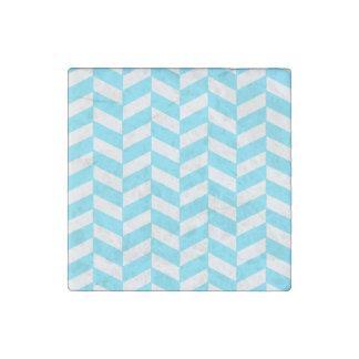 Herringbone White Bright Blue Summer Mod Pattern Stone Magnet