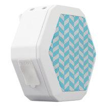Herringbone White Bright Blue Summer Mod Pattern White Bluetooth Speaker