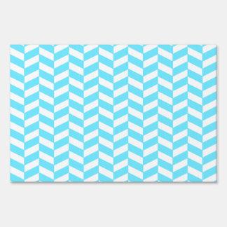 Herringbone White Bright Blue Summer Mod Pattern Lawn Sign