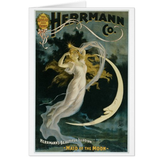 Herrmann ~ Maid of the Moon Vintage Magician Act Card