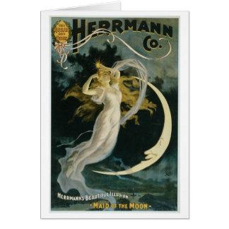 Herrmann ~ Maid of the Moon Vintage Magician Act Card