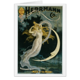 Herrmann ~ Maid of the Moon Vintage Magician Act Greeting Card