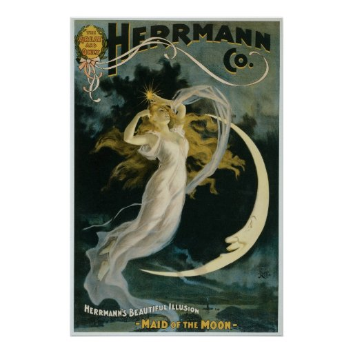 Herrmann ~ Maid of the Moon Vintage Magician Act Poster