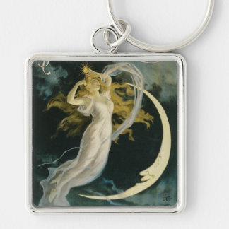 Herrmann ~ Maid of the Moon Vintage Magician Act Silver-Colored Square Keychain