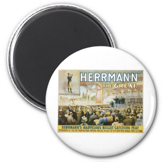 Herrmann The Great ~ Vintage Bullet Catching Act Magnet