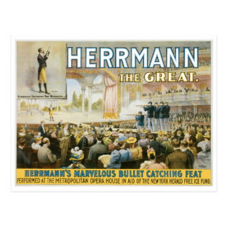 Herrmann The Great ~ Vintage Bullet Catching Act Postcard