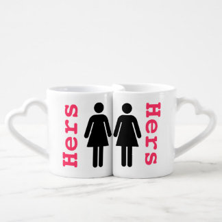 Hers and Hers Lesbian Couples Women Icon Design Lovers Mugs