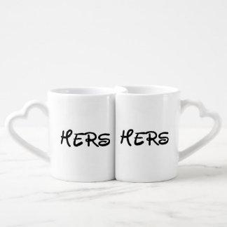 HERS AND HERS, LESBIAN WEDDING GIFT COFFEE MUG SET