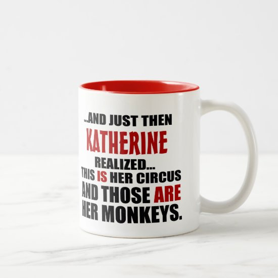 (Hers) Funny Personalized Circus Monkeys Two-Tone Coffee Mug
