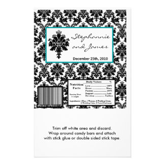 Hershey's Large Bar Wrapper Black Teal Damask