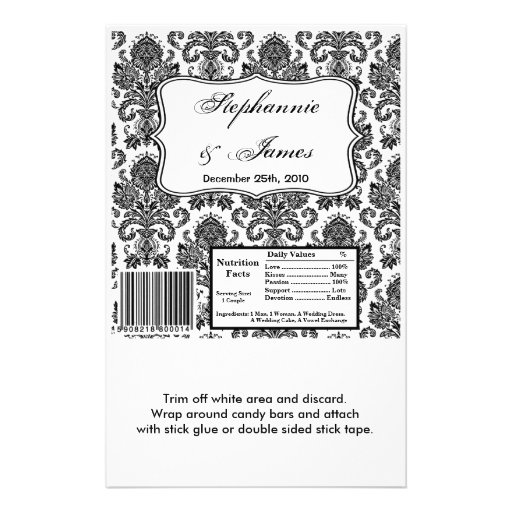 Hershey's Large Bar Wrapper Black White Damask Lac Personalized Flyer