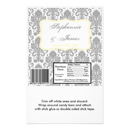 Hershey's Large Bar Wrapper Gray Yello Damask Lace Personalized Flyer