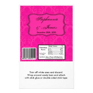 Hershey's Large Bar Wrapper Hot Pink Damask Lace Flyer