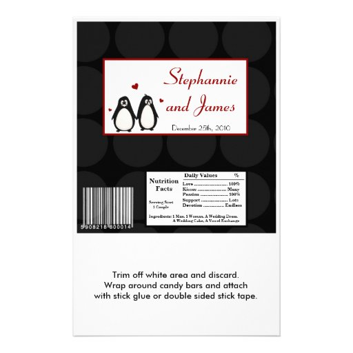 Hershey's Large Bar Wrapper Penguin Love Couple Personalized Flyer
