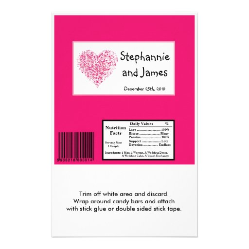 Hershey's Large Bar Wrapper Pink Floral Petals Personalized Flyer