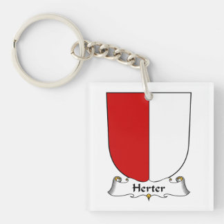 Herter Family Crest Single-Sided Square Acrylic Keychain