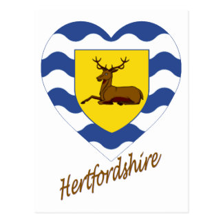 Hertfordshire Flag Heart with Name Postcard