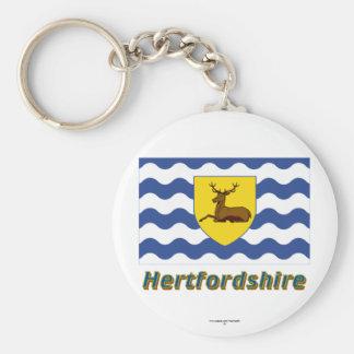Hertfordshire Flag with Name Basic Round Button Keychain