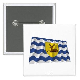 Hertfordshire Waving Flag 2 Inch Square Button