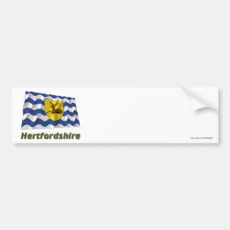 Hertfordshire Waving Flag with Name Car Bumper Sticker