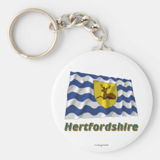 Hertfordshire Waving Flag with Name Basic Round Button Keychain
