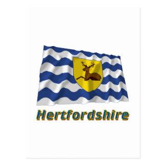 Hertfordshire Waving Flag with Name Postcard