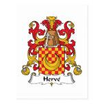 Herve Family Crest Postcard