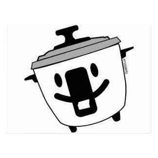 Hervidor de arroz feliz tarjeta postal