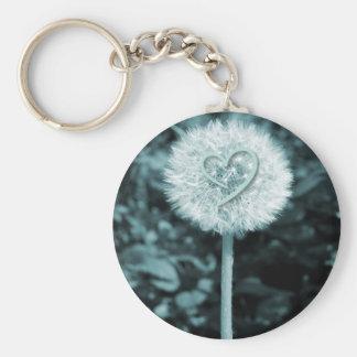 Herz blume heart flower basic round button keychain