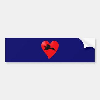 Herz Rabe heart raven Auto Sticker