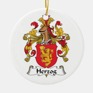 Herzog Family Crest Double-Sided Ceramic Round Christmas Ornament