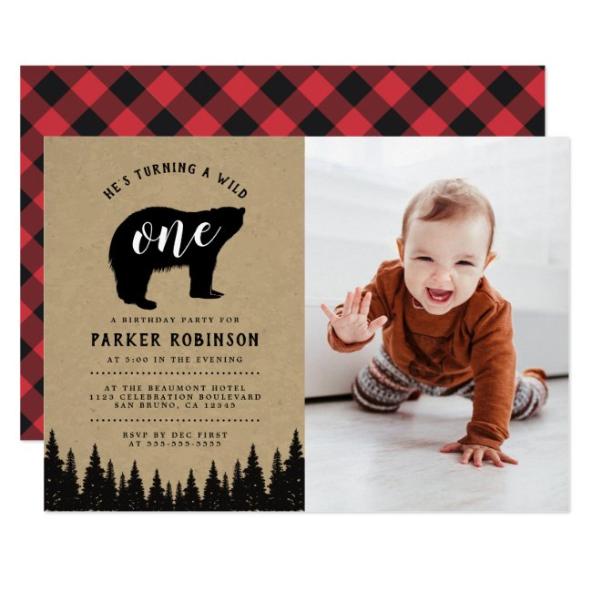 He's A Wild One | Rustic First Birthday Photo Invitation