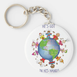 He's Got the Whole World in His Hands Basic Round Button Keychain