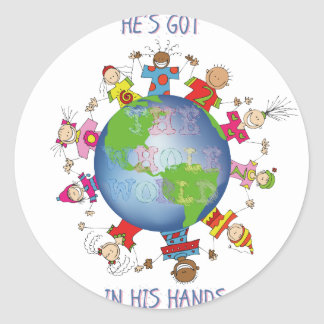 He's Got the Whole World in His Hands Classic Round Sticker