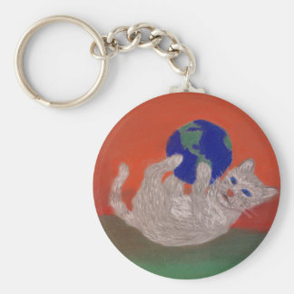 He's Got the Whole World in his Paws Basic Round Button Keychain