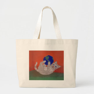 He's Got the Whole World in his Paws Jumbo Tote Bag
