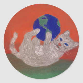 He's Got the Whole World in his Paws Sticker