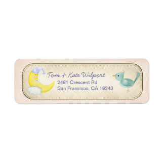 He's Here!  Beige Baby New Arrival Address Labels
