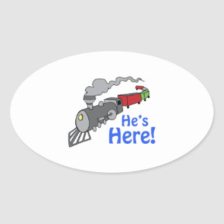 HES HERE TRAIN OVAL STICKERS