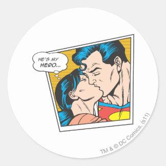 He's my hero classic round sticker